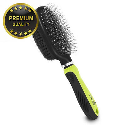 Pecute Double Sided Pet Grooming Brush - 2 in 1 Pin & Bristle Soft - Daily...