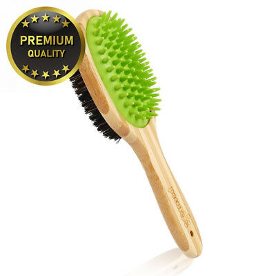 Pecute Double Sided Pet Massage Bath Brush- 2 in 1 Silicone Needle and...