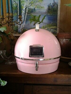 Vintage 1960's Bubble Gum Pink Salon Hard Bonnet Portable Hair Dryer Retro Fab!