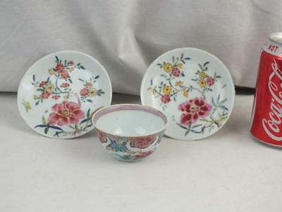 Pair Early 18Th C Chinese Yongcheng Famille Rose Saucers & Tea Bowl
