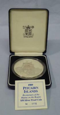 1989 PITCAIRN ISLANDS $50 SILVER PROOF 5oz COIN MUTINY ON THE BOUNTY BOX & CERT