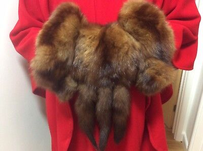 Vintage Large Mink Fur Hand Warmer Muff, with Tails