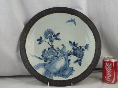 """Large 14.5"""" 19Th C Chinese Porcelain Blue White Birds Pheasant Charger"""