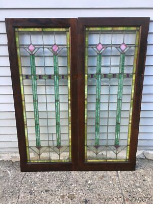 Pair of Antique Art Deco Stained Leaded Glass Bookcase Doors from Chicago