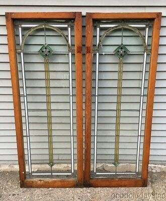 "Antique 1920's Stained Leaded Glass Doors / Windows from Chicago 62"" by 24"""