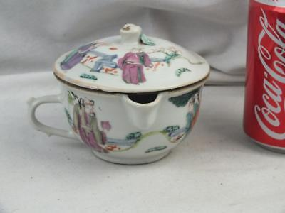 Antique Chinese Porcelain Famille Rose Figures Feeding Bowl And Cover - Marked