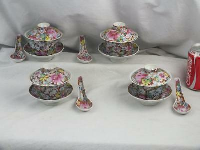 Set Of 4 Antique Chinese Millifleur Bowls Covers, Stands And Spoons