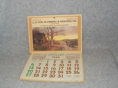1946 Vintage Advertising Wall Calendar Farm Picture Cooking Recipes & How To
