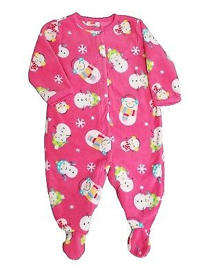 20bf66fd7 CARTERS INFANT   Toddler Girls Pink Fleece Santa   Snowman Holiday ...