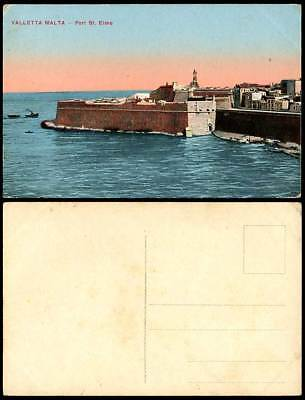 Malta Old Maltese Colour Postcard VALLETTA FORT ST. ELMO Fortress Boats Panorama