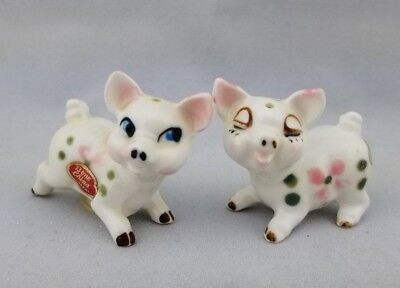 Vintage Miniature Pig Figurine Salt and Pepper Shakers Bone China