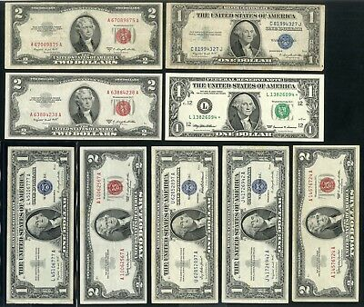 US Paper Money Collection Lot Small and (1)Large Sized Face Value $82 NO RESERVE