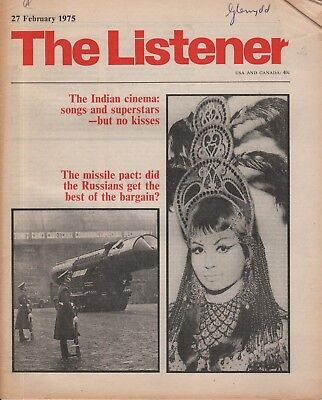 THE LISTENER (27 February 1975) BOLLYWOOD - MISSILE PACT - DAVID ATTENBOROUGH