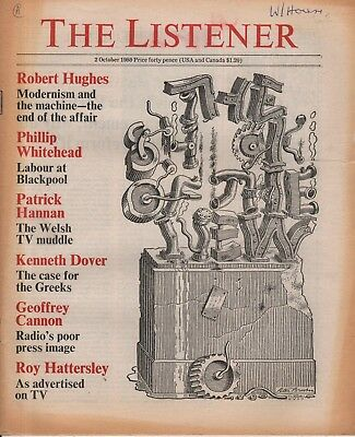 THE LISTENER (2 October 1980) - SADDAM HUSSEIN - ROBERT HUGHES - THE VANDERBILTS