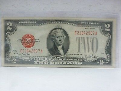 FR-1508  1928-G Series $2 Two Dollar Bill Red Seal U.S. Note--S# E21642507A