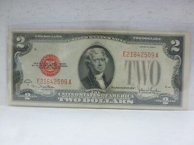 FR-1508  1928-G Series $2 Two Dollar Bill Red Seal U.S. Note--S# E21642509A