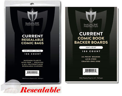 500 MAX PRO CURRENT MODERN COMIC BOOK RESEALABLE BAGS 6-578 x 10-1/2 & BOARDS