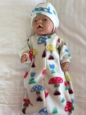 "Doll clothes - Sleeping Bag & Hat To Fit 17"" Baby Born Doll ~ Cream / Toadstools"