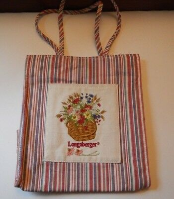 Longaberger Multi-Stripe Cloth w Flower Basket Embroidery Tote Bag