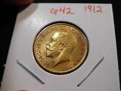 G42 Great Britain 1912 GOLD 1/2 Sovereign