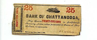 Great 1862 United States Bank of Chattanooga 25c Fractional Currency Note KE336