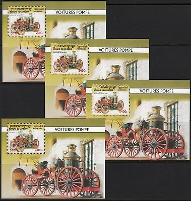 (A867X4) CAMBODGE CAMBODIA 2001 Fire engines Pompiers Feuerwehrfahrzeuge 4X MNH