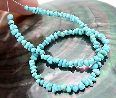 NATURAL BLUE KINGMAN TURQUOISE 114pc UNTREATED RARE AAA BEADS 24.50cts - 11 inch
