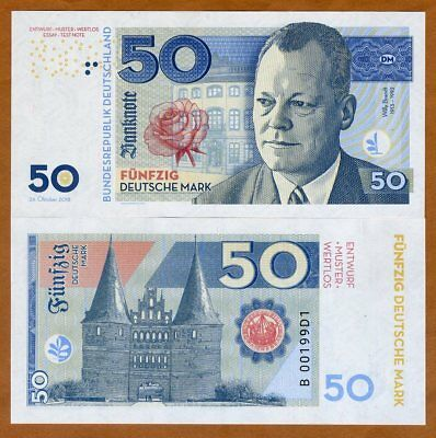 Germany, Federal Republic, 50 Mark, Private Issue, Specimen, 2018 > Willy Brandt