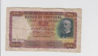 Portugal Paper Money one old note fine  stains