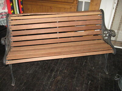 VINTAGE PARK BENCH DECORATIVE CAST IRON ENDS w/WOOD SLATS, 4ft Wide; VGC