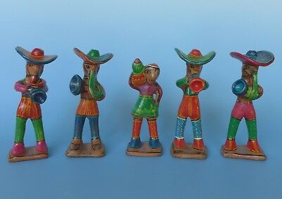 "Set of 5 vintage Mexican colorful folk art Guerrero musicians  6"" to 8""  tall"