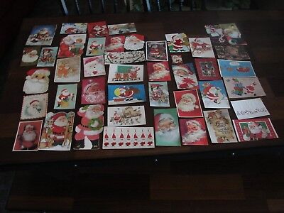 Vintage Lot Of 43 All Santa Christmas Greeting Cards Pre Owned Used