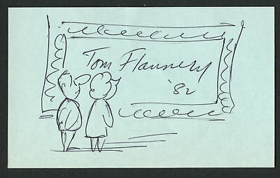 Tom Flannery (d. 1999) Editorial Cartoonist signed autograph 3x5 w/ Sketch MH084