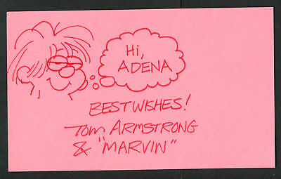 Tom Armstrong Marvin Cartoonist signed autograph 3x5 with Original Sketch MH030