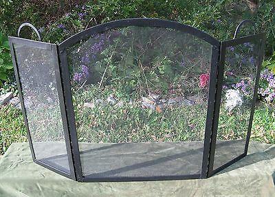 Modern Arched 3 Fold Steel Fire place Screen Handles 51""