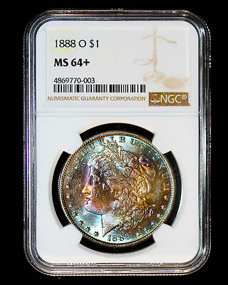 1888 O Morgan Silver Dollar Coin **Amazing Toning Rainbow** Ngc Ms64+ #770-003