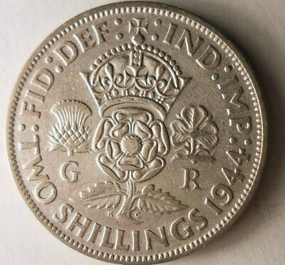 1944 GREAT BRITAIN FLORIN - Excellent Coin - RARE + VALUE Silver Coin - Lot #N16