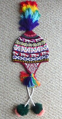 Peruvian Andean Mountain Shaman Q'ero Chullo Beaded Ceremony Hat - with Llamas