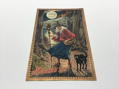 Antique 1910 Tuck's Halloween Witch and Black Cat  Bat Post Card Marshalsea Pa.