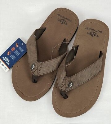63d353a820f5 Dockers Mens Size Large 9.5-10.5 Flip Flops Sandals New With Tags Beach  Brown B