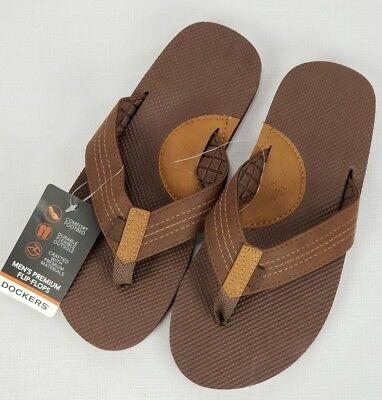 b5613a745240 Dockers Mens Size Medium 8-9 Flip Flops Sandals New With Tags Beach Brown C