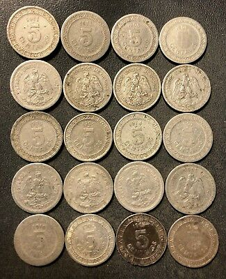 Old Mexico Coin Lot - 1905-1914 - 5 CENTAVOS - 20 Coins - Lot #N16