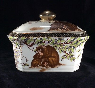 Antique Chinese Porcelain Gold Trim Tea Caddie with Lid Stamped Red Seal Mark