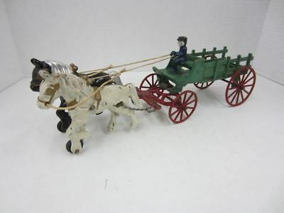 "Vintage Cast Iron TWO-HORSE DRAWN WAGON Green w/Red Wheels 15"" long"