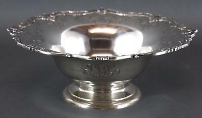 Large Engraved Sterling Silver, Footed Center Fruit Bowl, Black, Star & Frost NR
