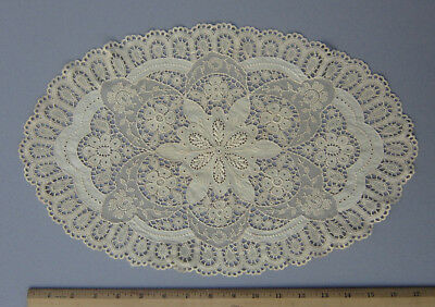 "Antique Ecru Oval Cut Work Embroidered Doily Placemat Net ~ 17.5"" x 11"""