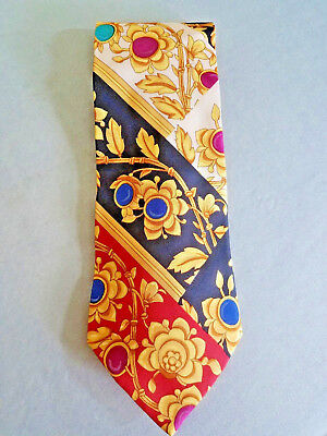 HUGO BOSS Silk Neck Tie Floral Abstract Gold Red Black Blue Made in Italy