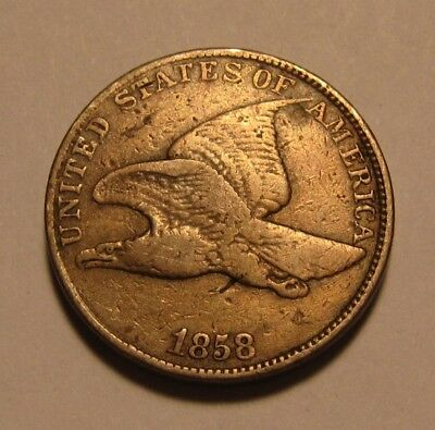 1858 Large Letters Flying Eagle Cent Penny - Very Fine Condition - 69FR