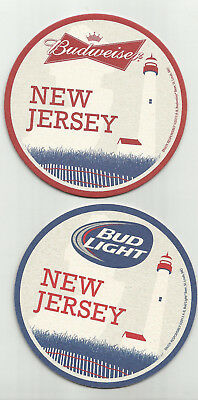 "Lot Of 5 Budweiser/Bud Light Beer Coasters-St.Louis, MO 4""  ""New Jersey"" #5916J"