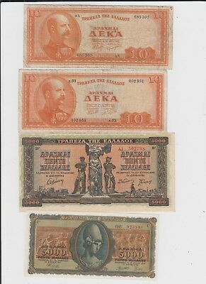 Greece  Paper Money 4 old notes 2 uncirculated 2 vg